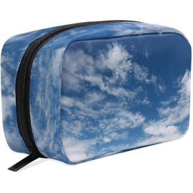Carrozza 化粧ポーチ メイクボックス ポーチ 仕切り レディース 女の子 学生 おしゃれ 空 青空 雲 化粧バッグ メイクポーチ 化粧ボックス コスメバッグ 小物ケース かわいい