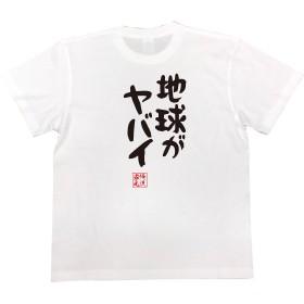 憩楽体Tシャツ 地球がヤバイ(160サイズTシャツ白x文字黒)