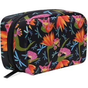 トンボ カエル 化粧ポーチ メイクポーチ 機能的 大容量 化粧品収納 小物入れ 普段使い 出張 旅行 メイク ブラシ バッグ 化粧バッグ