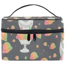 メイクボックス シャーベット柄 化粧ポーチ 化粧品 化粧道具 小物入れ メイクブラシバッグ 大容量 旅行用 収納ケース