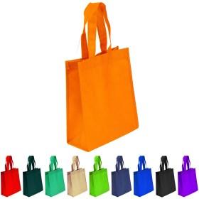 不織布再利用可能なトートバッグ、頑丈な不織布ポリプロピレン、小さなギフトトートバッグ、ブックバッグ、Non Woven Bag Multipurposeアートクラフト画面印刷スクールバッグ Set of 10 オレンジ