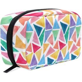 カラフルの三角形 化粧ポーチ メイクポーチ 機能的 大容量 化粧品収納 小物入れ 普段使い 出張 旅行 メイク ブラシ バッグ 化粧バッグ