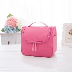 化粧品収納バッグ ポータブル 防水 化粧バッグ フック付き-ピンク 23x10.5x20cm
