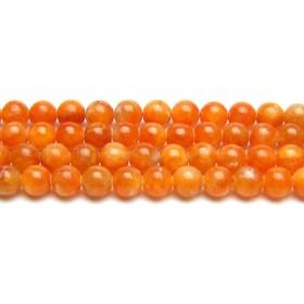 [ ハッピーボム ] オレンジカルサイト 8mm 丸玉 半連売り 約17~18cm 天然石 ビーズ パワーストーン ブレスレット 作成用