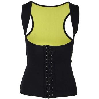 Perfeclan アンダーバスト 女性 コルセット ベスト キャミソール タンクトップ ボディシェイパー 全3サイズ - ブラック, L