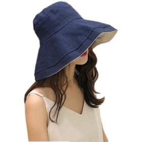 UVカット 帽子 レディース ハット 夏 女優帽 日焼け防止 熱中症予防 可愛い 小顔効果抜群 紫外線対策 uv帽 大人 (紺青)