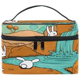 Anmumi 化粧ポーチ メイクポーチ ボックス 収納ケース 仕切り ウサギ 動物柄 滝 手提げ 大容量 かわいい おしゃれ レディース 女の子 機能的 ポーチ 小物入れ 旅行 出張 プレゼント
