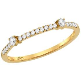 Jewel Tie ソリッド 10k イエローゴールド ラウンドダイヤモンド 1列 スタッカブル バンドリング 1/6 Cttw