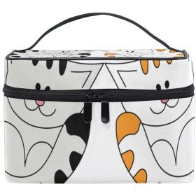 ユキオ(UKIO) メイクポーチ 大容量 シンプル かわいい 持ち運び 旅行 化粧ポーチ コスメバッグ 化粧品 猫 ねこ 猫柄 レディース 収納ケース ポーチ 収納ボックス 化粧箱 メイクバッグ
