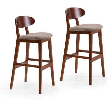 HOHO 2便セット ソリッドウッド製バースツール モダンレジャー 椅子 快適なレザー/亜麻ベース 背もたれペダル バースツール カフェ、ラウンジ、クラブハウス、バー