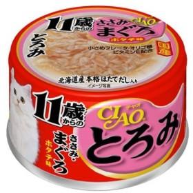 チャオとろみ 11歳からのささみ・まぐろ ホタテ味80g×6個セット /いなば キャットフード ウエット 缶詰