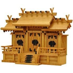 エイ・アイ・エス(AIS) 神棚 日本製 新ケヤキ調 屋根違い三社 中 新ケヤキ中 清正 背面お札挿入仕様