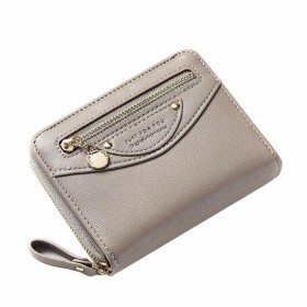 BOBIDYEE 女性のミニ財布PUレザージップアラウンドポケット財布レディースミニ財布ファッションパッケージ (色 : グレー)