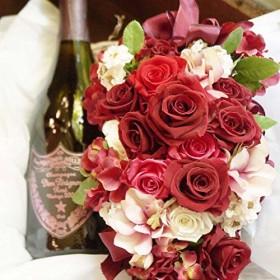 結婚祝い 花 赤 バラ スパークリングワイン ドンペリ お祝い 社長就任祝い ドンペリとプリザーブドフラワーのプレミアムシャンパンギフト