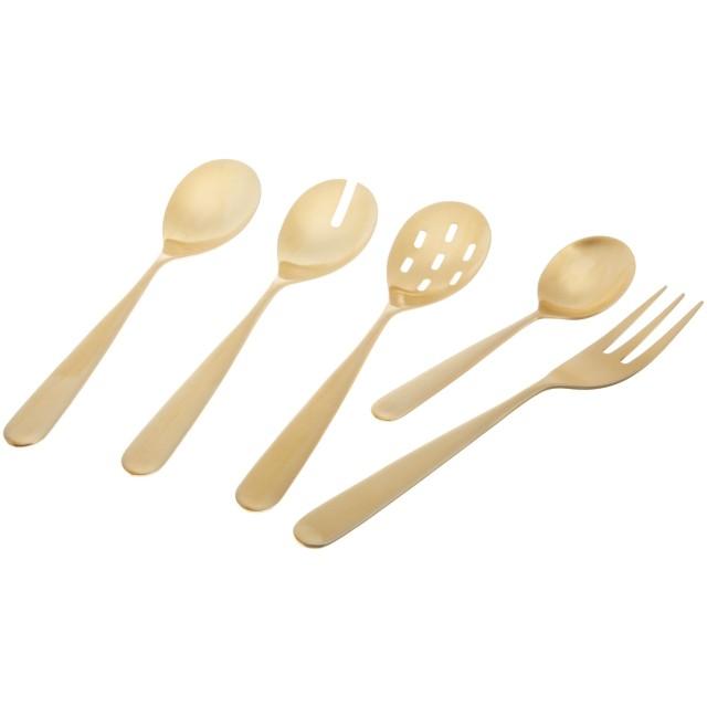(Gold Matte Finish) - Herdmar Century 5-Piece Serving Set, Gold Matte Finish