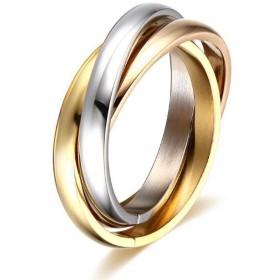 トレンドデザイントリコロール3つのリングは光沢のあるリングの男性と女性の結婚祝いの婚約指輪が大好きです