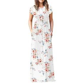 KRUIHAN レディース 全長 マキシ ドレス プラスサイズ プレーン カジュアル ストリートウェア Mサイズ ホワイト