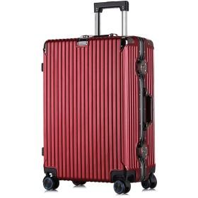 ユニセックストロリーケース、4 360°ミュートキャスタースーツケース、荷物、TSA税関パスワードロックボックス、PCアルミフレーム搭乗ケース-Redwine