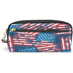 ALAZA レトロ アメリカ 国旗 鉛筆 ケース ジッパー Pu 革製 ペン バッグ 化粧品 化粧 バッグ ペン 文房具 ポーチ バッグ 大容量