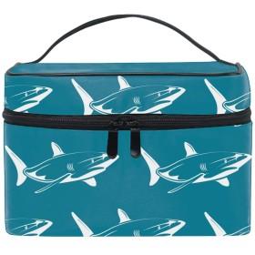 White Sharks Over Blue Patternメイクボックス コスメ収納 トラベルバッグ 化粧 バッグ 高品質