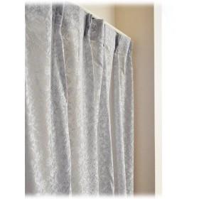 日本製 アルミ蒸着 防炎 UVカット ミラーレースカーテン【フラワー柄】グレー(100×108cm)2枚組
