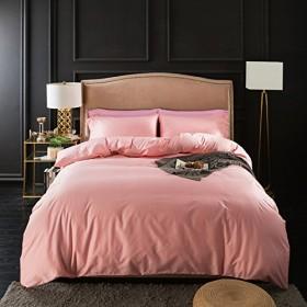 ピンク 純色 欧式 ゴージャス ホテル品質 寝具カバーセット 掛け布団カバー シーツ 枕カバー シングル