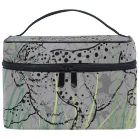 AyuStyle メイクボックス バニティポーチ レオパード柄 豹柄 機能的 大容量 化粧ポーチ メイクバッグ 収納ケース メイクポーチ トラベルバッグ 化粧 バッグ 化粧道具 化粧品 小物入れ 旅行