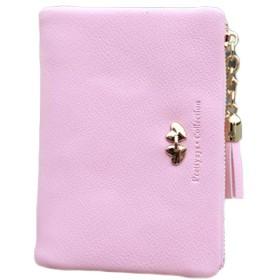 BOBIDYEE 折り畳み式のジッパーの女性が付いている札入れ普及したかわいい小型札入れの大容量PUの革薄いタイプの方法パッケージ (色 : ピンク)
