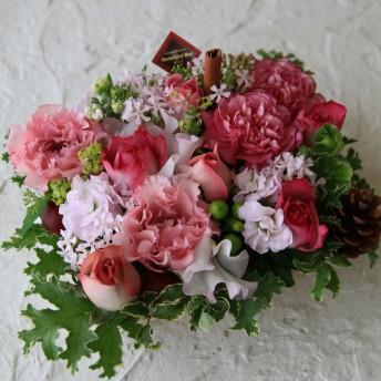 フラワー ギフト お祝い Congratulations アレンジメント ピンク系 おめでとう!の気持ちを込めて 季節のお花を使った生花 フラワーアレンジメント Congratulationsピック付