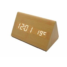 クロック 時計 置き インテリア オシャレ 木目調 ナチュラル風 寝室 部屋 用 (薄茶)