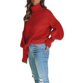 Feteso セーターレディーズ 高襟 長袖トップス 無地 通勤 旅行 春秋冬 人気 コートセーター ロング カジュアル コットン ゆったり コート ファッション Long Sleeve Womens Sweaters 2018セール