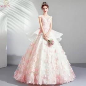 花のアップリケ ビーズクリスタル ティアードスカート ウエディングドレス カラードレス ピンクアイボリー