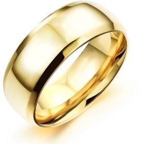 HooAMI ペアリング 唯一の愛 【刻印可】 リング メンズ 指輪 シンプル ステンレス ゴールドメッキ 日本サイズ:19号 18.9mm-1個