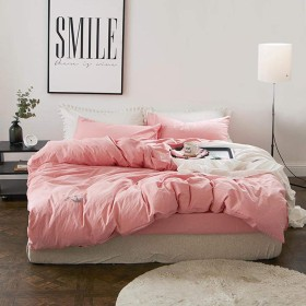 キルティング掛け布団4ピース刺繍ベッドカバー目に見えないジッパーベッドカバー親密な包帯枕カバープレーンカラーコットンシート-Lotuscolor-1.2m