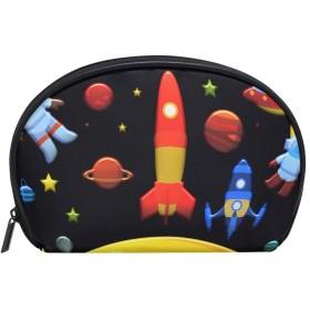 ANNSIN コスメポーチ 化粧ポーチ メイクポーチ マルチポーチ メイクボックス トラベル 小物入れ 創意 化粧品 たっぷり収納 レデイース 和風 軽量 撥水 出張 旅行 人気 おしゃれ かわいい 宇宙 ロケット