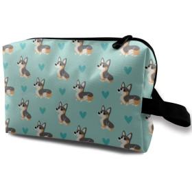 コーギー 愛の心 化粧バッグ 収納袋 女大容量 化粧品クラッチバッグ 収納 軽量 ウィンドジップ