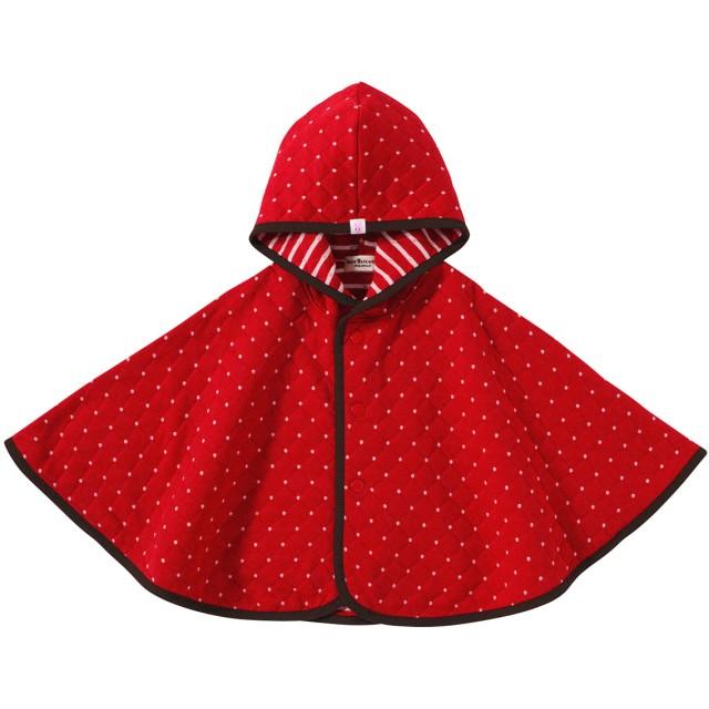 ミキハウス 【アウトレット】星&ドット柄 ニットキルトマント 赤