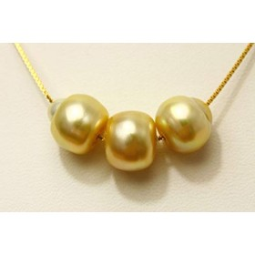 南洋白蝶真珠スルーパールネックレス 11-10mm ナチュラルゴールドカラー