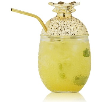 Brilliant - Pineapple Cocktail Glass Cup with Straw and Removable Lid, 440ml Set of 2