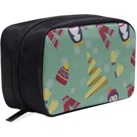 GGSXD メイクポーチ 小柄ペンギンや帽子 ボックス コスメ収納 化粧品収納ケース 大容量 収納 化粧品入れ 化粧バッグ 旅行用 メイクブラシバッグ 化粧箱 持ち運び便利 プロ用