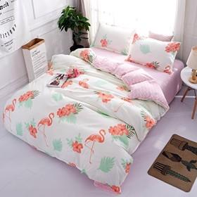 ZHIYUAN フラミンゴパターンフラットシート羽毛布団カバー枕カバーセット、シングル