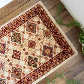 室内 屋内 用 玄関 マット スパニッシュ モデロ Ⅳ アイボリー 約 70×120 cm スペイン 柄 ウィルトン織り カーペット