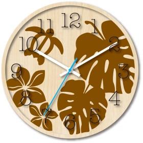 スターライン 木製文字盤がおしゃれな ハワイアン クロック 掛け時計 モンステラ ブラウン TW-1183MO