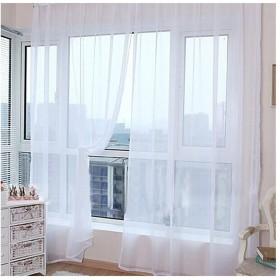 Hioffer(ハイオフア)カーテン 明るく 装飾 ボイルカーテン 洗濯可能 窓 部屋 自然の風を通し ドレープ パネル ウォッシャブル ドアカーテン チュール 薄手 UVカット カーテン 薄い 1枚 全12色 幅100cm丈200cmホワイト