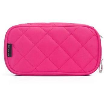 化粧品袋、シンプルな大容量レディースポータブル化粧品袋、ブラシホルダー付き防水トラベル、ブラック、ローズレッド、ピンク (Color : Rose Red)