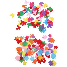 花&蝶形 クラフト フェルト ダイカット アップリケ カラフル DIY 装飾 約200個