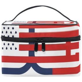 Natax 化粧ポーチ 大容量 かわいい おしゃれ 機能的 バニティポーチ 収納ケース ポーチ メイクポーチ ボックス 小物入れ 仕切り 旅行 出張 持ち運び便利 コンパクトアメリカの旗