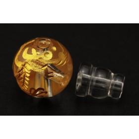 【石流通センター】【念珠】五爪龍 彫刻親玉・ボサ玉セット 水晶 12mm (金彫り) 天然石 パワーストーン