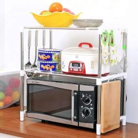 ステンレス鋼テレスコピック電子レンジ棚二層仕上げ収納ラックキッチン用品オーブンラック