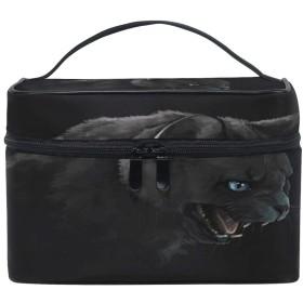 Anmumi 化粧ポーチ メイク ポーチ ボックス 収納ケース 仕切り 猫柄 ブラック 手提げ 大容量 かわいい おしゃれ レディース 女の子 小物入れ 旅行 出張 プレゼント